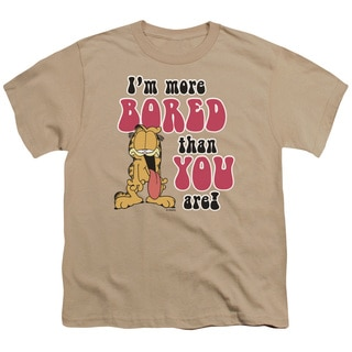 Garfield/More Bored Short Sleeve Youth 18/1 in Sand