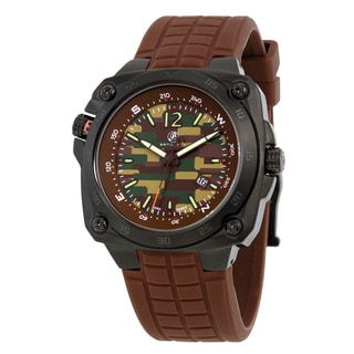 Brooklyn Watch Co. Hamilton Army Men's Stainless Steel Swiss Quartz Watch with Brown Rubber Strap