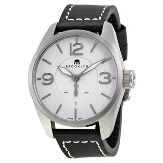 Brooklyn Watch Company Lafayette White Dial Black Leather Swiss Quartz Men's Watch