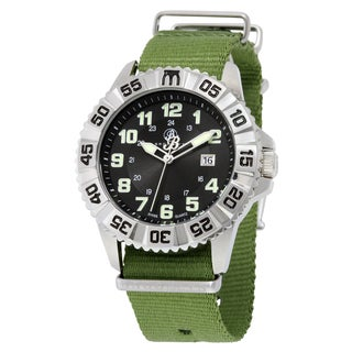 Brooklyn Watch Co. Essex Stainless Steel Army Swiss Quartz Watch with Green Canvas Strap