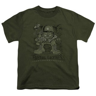 Garfield/General Laziness Short Sleeve Youth 18/1 Military Green