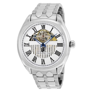 Brooklyn Watch Co. Dunham Men's Silvertone Silver Dial Skeleton Watch with Stainless Steel Bracelet