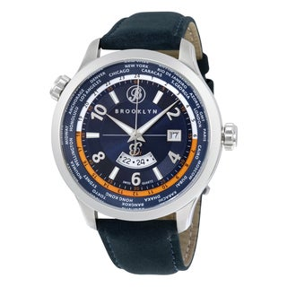Brooklyn Watch Co. Casual Cadman Brooklyn Men's Stainless Steel Case Swiss Quartz GMT Watch with Blue Leather Strap