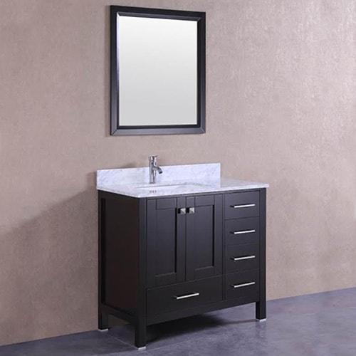 Shop belvedere espresso oak marble top and backsplash 36 inch bathroom vanity free shipping for 36 inch espresso bathroom vanity