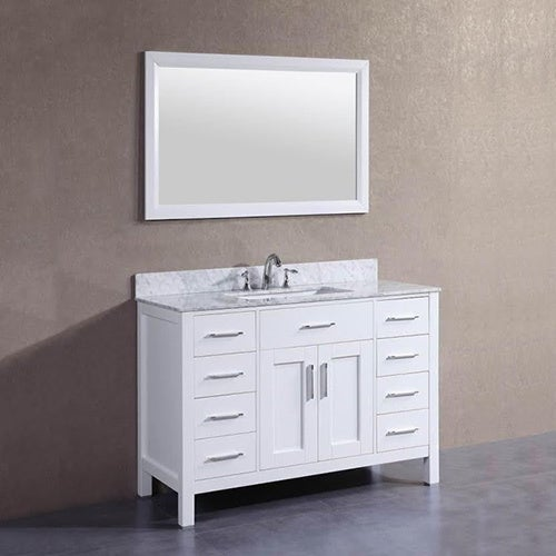 Shop 48 inch belvedere freestanding white bathroom vanity w marble top backsplash free for Freestanding 24 inch bathroom vanity