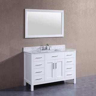 48 inch Belvedere Freestanding White Bathroom Vanity w/ Marble Top & Backsplash