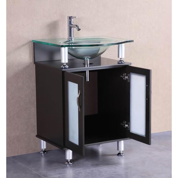 Belvedere Modern Espresso 24 Inch Bathroom Vanity With Tempered Glass Top  And Sink   Free Shipping Today   Overstock.com   19572941