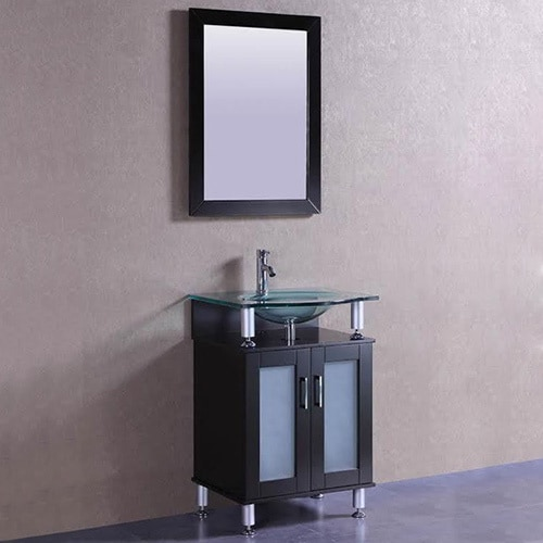 Belvedere Modern Espresso 24 Inch Bathroom Vanity With Tempered Gl Top And Sink