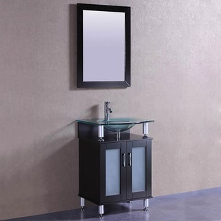 Belvedere Modern Espresso 24 Inch Bathroom Vanity With Tempered Glass Top  And Sink