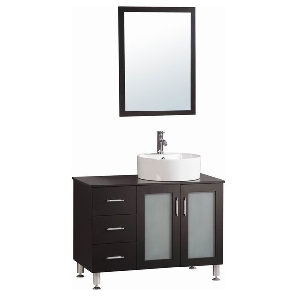 Belvedere Espresso Modern Freestanding 40 Inch Bathroom Vanity With Vessel Sink Free Shipping