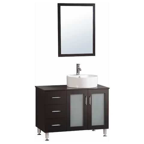 Belvedere Espresso Modern Freestanding 40-inch Bathroom Vanity With Vessel Sink