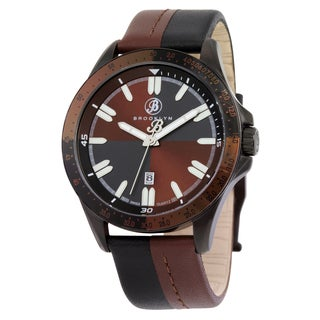 Brooklyn Watch Co. Florence Men's Brown/ Black Stainless Steel Shaded-dial Quartz Watch with Leather Strap
