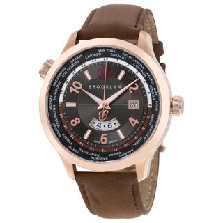 Brooklyn Watch Co. Casual Cadman Men's Brooklyn Quartz GMT Watch with Brown Leather Strap