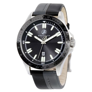 Brooklyn Watch Co. Florence Black/ Grey Stainless Steel Casual Dial Watch with Leather Strap