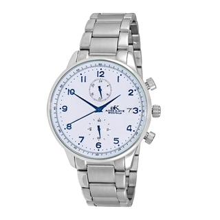 Adee Kaye Men's Silvertone All Stainless Steel Regulated Time Zone Design Watch