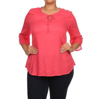 Women's Solid-color Plus-size 3/4-sleeve Peasant Top