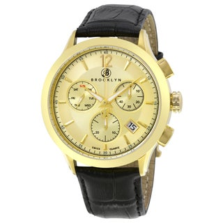 Brooklyn Watch Co. Men's Dakota Chronograph Goldtone Dial Watch