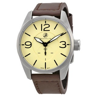 Brooklyn Watch Co. Lafayette Men's Stainless Steel Tan Dial Watch with Brown Leather Strap