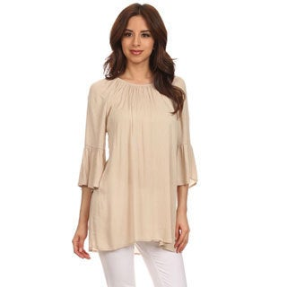 Women's Solid-colored Rayon 3/4-sleeve Blouse