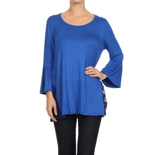 Women's Crochet-inset Solid Top