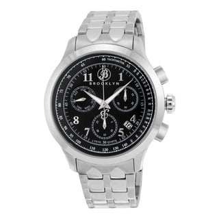 Prince Men's Brooklyn Silvertone Stainless Steel Quartz Chronograph Black Dial Watch