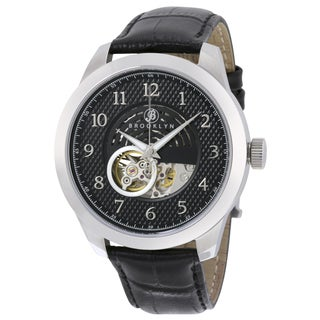 Brooklyn Watch Co. Men's Carlton Black Dial Skeleton Automatic Watch