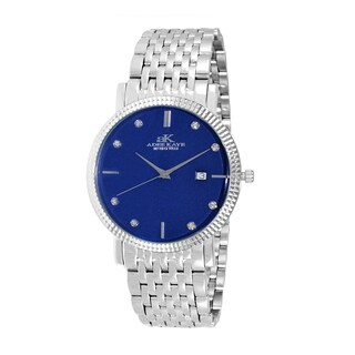 Design by Adee Kaye Men's Swiss Stainless Steel and Crystal Watch