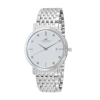 Adee Kaye Men's Silver Stainless Steel and Crystal Watch