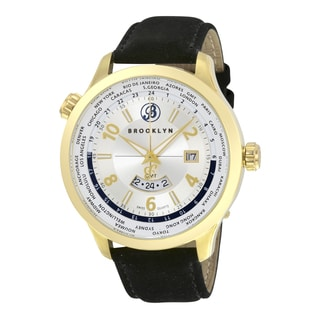 Brooklyn Watch Co. Casual Cadman Men's Brooklyn Stainless Steel GMT Swiss Quartz Watch with Leather Stap
