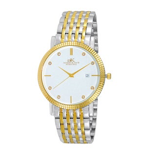Adee Kaye Men's Gold-tone/Silvertone Stainless Steel and Crystal Watch