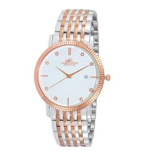 Adee Kaye Men's Swiss Stainless Steel Rose-tone Crystal Watch