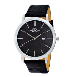 Adee Kaye Beverly Hills Men's Attache Stainless Steel and Leather Japanese Quartz Watch