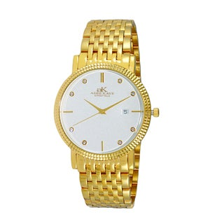 Adee Kaye Men's Gold-tone Stainless Steel and Crystal Swiss Watch