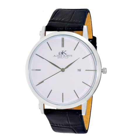 Adee Kay Mens 'Attache' Stainless Steel and Leather Watch
