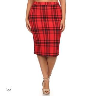 Women's Plaid Plus Size Pencil Skirt