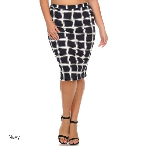 Women's Plaid Plus Size Pencil Skirt