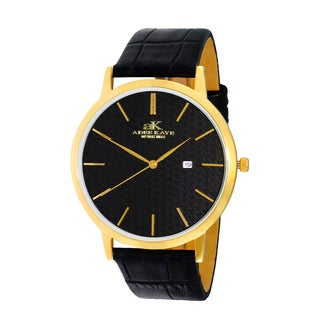 Adee Kaye Mens 'Attache' Gold-tone Stainless Steel and Leather Watch