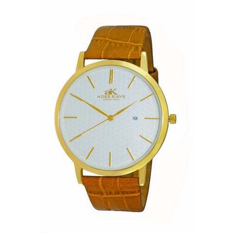 Adee Kaye Beverly Hills Men's Attache Brown Leather Watch
