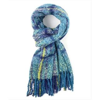Echo Design Womens Lofty Blue Plaid Woven Scarves Shawl Wrap - L