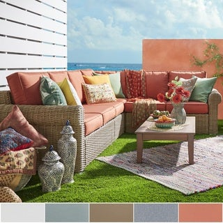 Barbados Mocha Rolled Arm Wicker Outdoor Cushioned Sectional by iNSPIRE Q Oasis (2 options available)