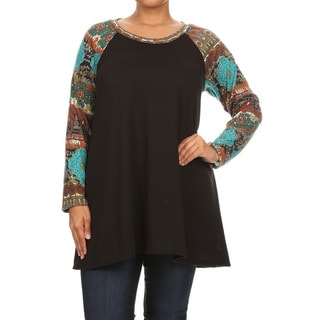 Women's Black Rayon/Spandex Plus-size Pattern-sleeved Top