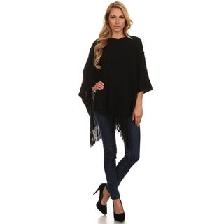 Women's Black Fringed Poncho Sweater