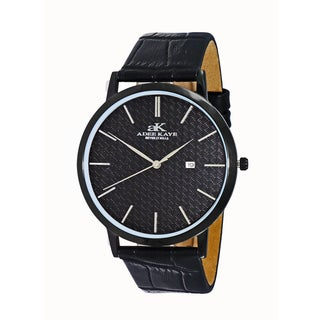Adee Kaye Men's 'Attache' Stainless Steel and Leather Watch