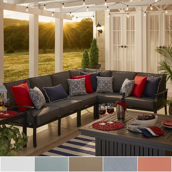 Outdoor Sectional Metal Throughout Matira Metal Modern 6seat Lshaped Outdoor Sectional By Inspire Oasis Shop