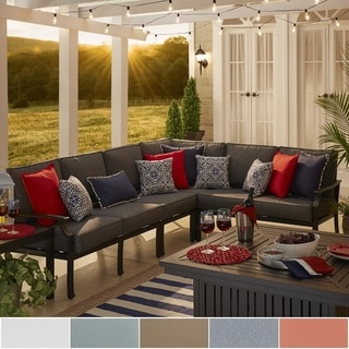 NAPA LIVING Matira Metal Modern 4 Piece 6 Seater L Shaped Outdoor Sectional