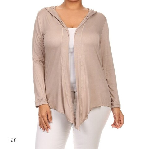 Women's Plus Size Rayon and Spandex Hoodie Cardigan