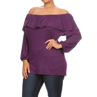 Plus Size Women's Red/Grey/Yellow/Purple Rayon/Spandex Double Layer Top