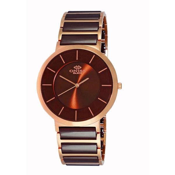 Oniss Paris Men's Swiss 'Slim' Stainless Steel and Ceramic Watch