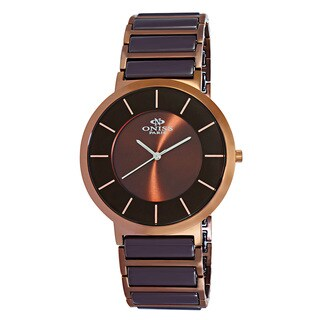 Oniss Paris Men's Brown Stainless Steel and Ceramic Slim Swiss Quartz Watch