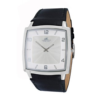 Adee Kaye Men's Silvertone/White Stainless Steel/Leather Watch